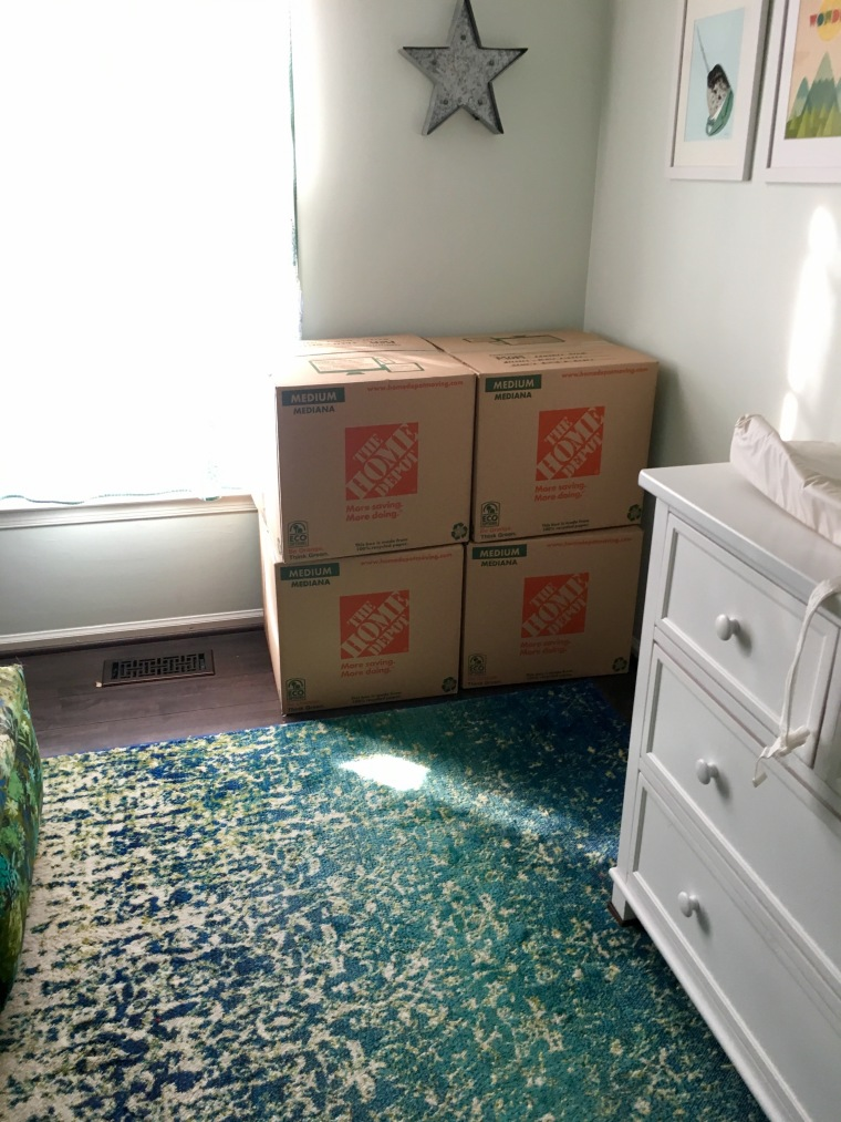 boxes in baby room