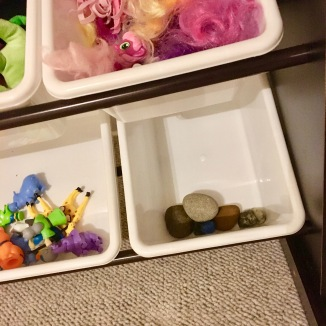 rocks in bins